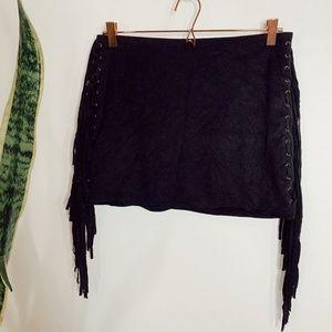 • FOREVER 21 • black suede western fringe skirt